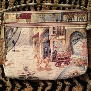 Pinky tapestry   purse with town scene